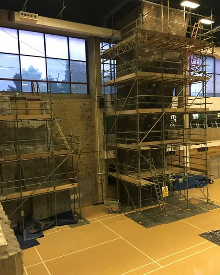 And scaffolding had covered the climbing wall.