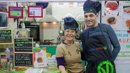 Dr Min and Mauro de Luca at the Vegan Yes stall in Nag's Head Market, Holloway. Picture: Vegan Yes