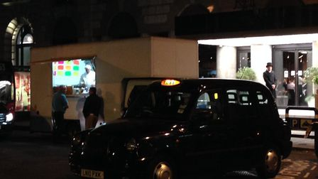 The van serving customers in front of the hotel in Finsbury Square. Picture: Robin Stephenson