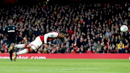 Arsenal's Theo Walcott heads wide with no-one near him and plenty of time. Walcott is 28-years-old.
