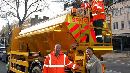 Transport boss Cllr Claudia Webbe with staff from one of the 24 gritting lorries out and about in Is