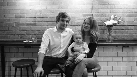 Chris Boustead, Laura Christie and little Ollie at the new Linden Stores restaurant in Highbury. Pic