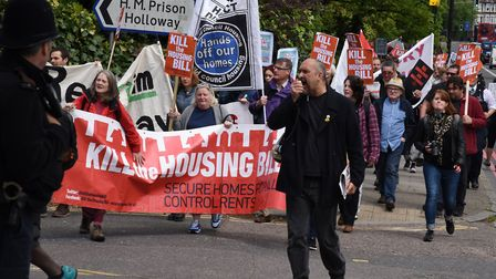 Protestors marching on Holloway Prison last year to demand the prison site be replaced by council ho