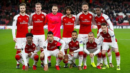 Arsenal team group. Top Row (left to right) Calum Chambers, Rob Holding, David Ospina, Mohamed Elnen