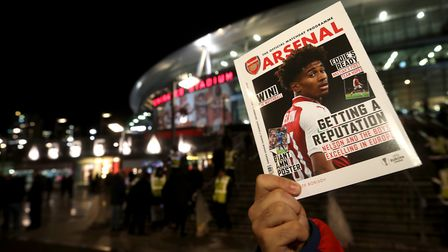 Matchday programmes on sale outside the stadium ahead of the UEFA Europa League, Group H match at th