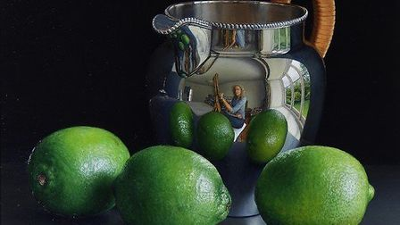Jessica Brown, Still Life with Three Limes and a Silver Water Jug, Oil on limewood panel, 2017. Cour