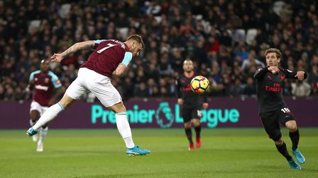 West Ham United's Marko Arnautovic heads home against Arsenal, but the goal is disallowed (pic John