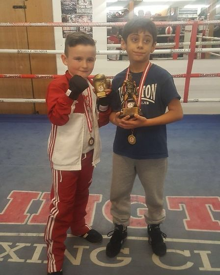 James Connolly and Kadir Cinko were most improved and best boxer at Islington's Tuesday group (pic R