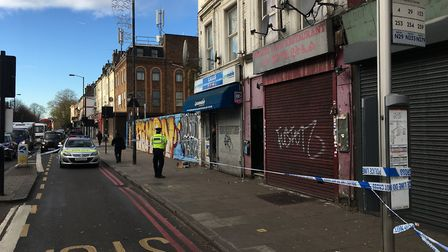 Bethel Cafe Restaurant in Seven Sisters Road, Finsbury Park, was still cordoned off at 10.45am today