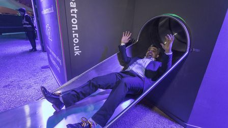 Cllr Muhammed Butt, Brent Council leader was first down the new Slideatron at Wembley Park, (.Phot