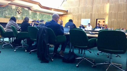 Haringey Council chiefs at Tuesday night's meeting in the Civic Centre. Picture: Jon King