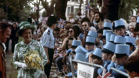Queen Elizabeth on a visit to Highbury Fields in 1977. Picture: Ron Bell/PA