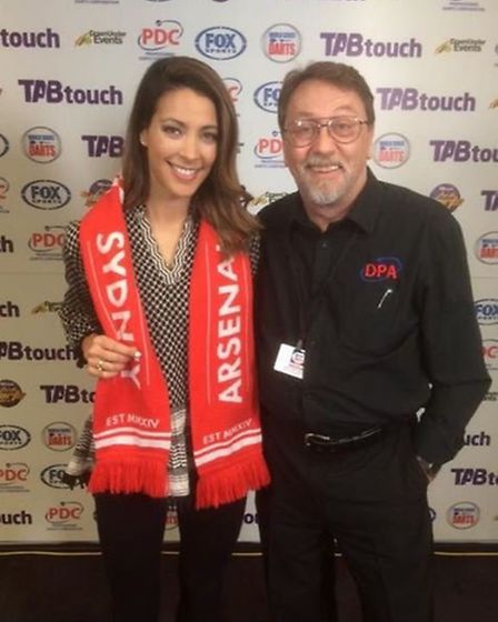 Arsenal Sydney chair Micky Brock with FoxSports Tara Rushton who's also a big fan