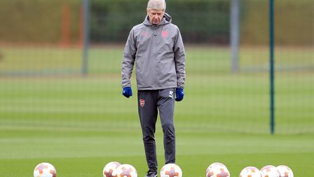 Arsenal manager Arsene Wenger during a training session at London Colney.