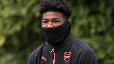 Arsenal's Ainsley Maitland-Niles during a training session at London Colney.