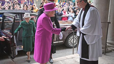 The Queen meets Rev Simon Harvey as she attends Scripture Union's 150th anniversary service at St Ma