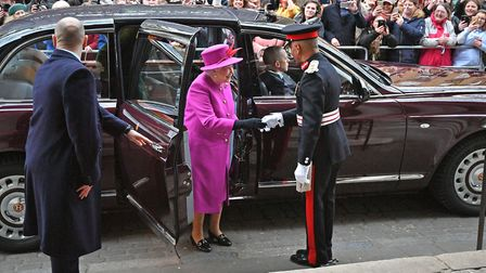 The Queen arrives for the Scripture Union's 150th anniversary service of celebration at St Mary's Ch
