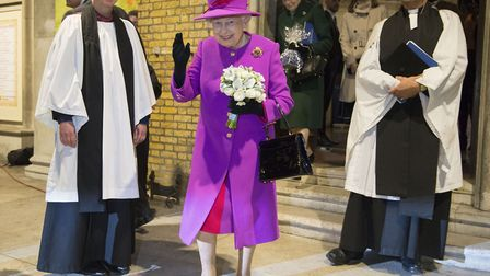 The Queen leaves St Mary's Church in Upper Street to cries of 'we love you Queenie, we do' and 'scum