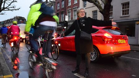 Cllr Caroline Russell at the Active Travel Now cycle lane protest in Penton Street on Wednesday last