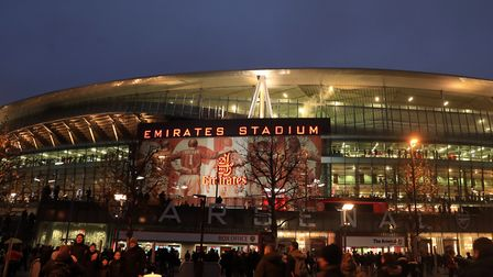 The Emirates stadium pictured on Saturday night. Picture: Adam Davy/PA Wire