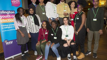 The new Islington Youth Council at the Assembly Hall after its election was announced. Picture: Stev