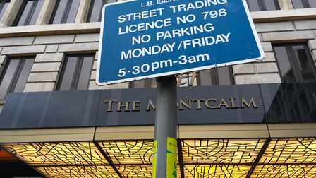 The council street trading notice outside the hotel in Finsbury Square. Picture: Polly Hancock