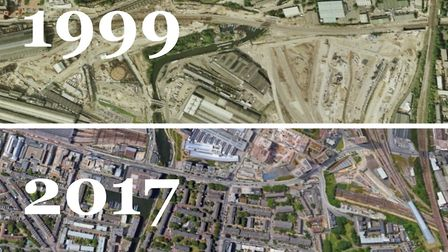 King's Cross before and after redevelopment. Pictures: Google Earth