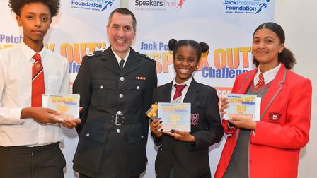(From left to right) Central Foundation Boys' School's Kidus Kinfu, borough fire commander Gary Squi