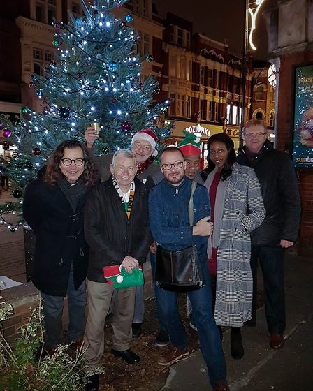 Members of the Harlesden Festive Lights Cooperative at their first Harlesden lights switch on
