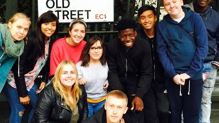 Lisa Hammond, centre, with young people who feature in her Old Street production. Picture: Lisa Hamm