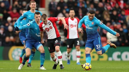 Arsenal's Sead Kolasinac (right) in action during the Premier League match at St Mary's Stadium (pic
