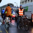John Ackers, of Cycle Islington, at the Active Travel Now cycle lane protest in Penton Street this m