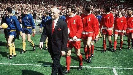Liverpool FC manager Bill shankly leading his men on to the field at Wembley Stadium for the 1971 FA