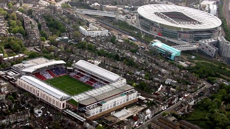 A aerial view of Highbury Stadium as Arsenal play their last match at the ground before moving to th