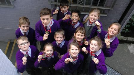 Medal-winning swimmers at the Gower School. Photo by the Gower School