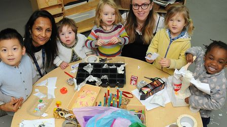 """Children and staff at the Archway Children's Centre, which has just been rated """"outstanding"""" by Ofst"""