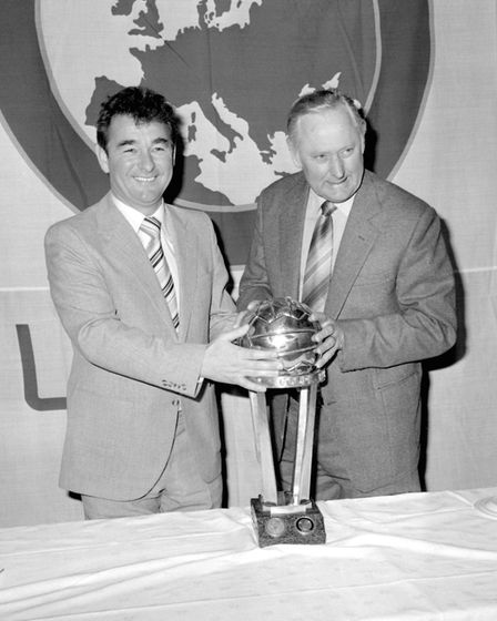Nottingham Forest manager Brian Clough, left, and assistant manager Peter Taylor before they played