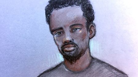 Court artist sketch by Elizabeth Cook of Kasim Lewis at Westminster Magistrates' Court in London, wh