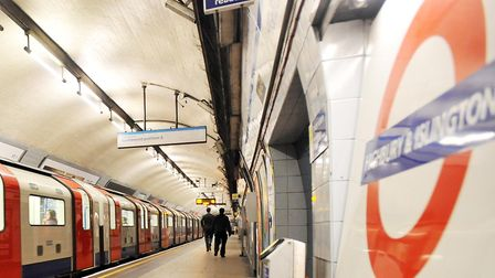 A general view picture of a Victoria line platform at Highbury and Islington station. Police are inv