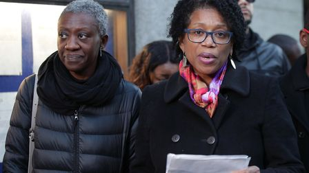 Valerie Archibold and Lorraine Jones, the sisters of Angela Best, outside the Old Bailey after Theod