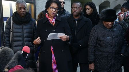 Angela Best's family outside the Old Bailey after Theodore Johnson was sentenced to a minimum 26 yea