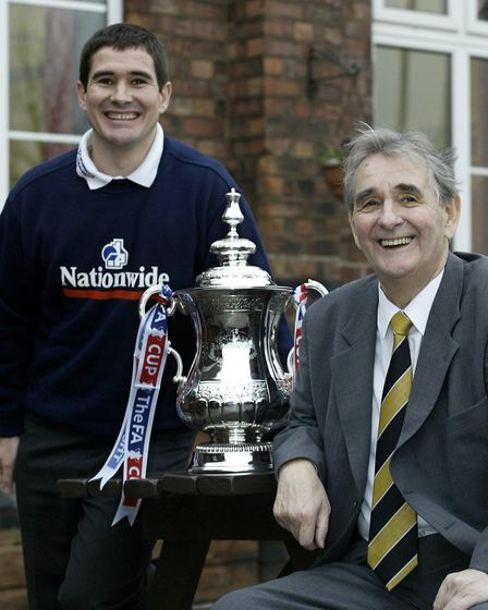 The late Brian Clough with son Nigel at an FA Cup photo shoot in Burton in 2003 (pic Nick Potts/PA)
