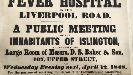 An 1848 poster for a public meeting opposing the building of the London Fever Hospital in Liverpool