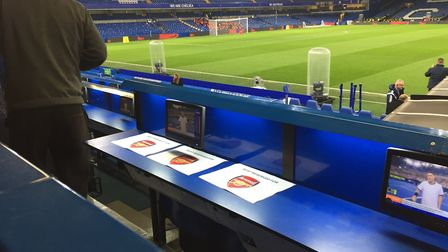 A general view of the seat reserved for Arsenal manager Arsene Wenger in the stands before the Carab