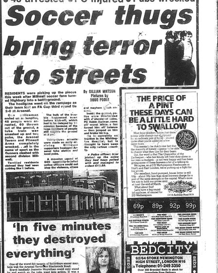 'Terror to the streets': How the Gazette reported the Arsenal v Millwall violence on January 15, 198