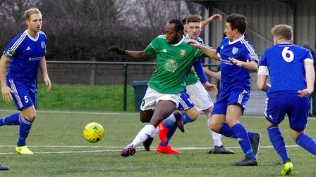 Hendon striker Niko Muir (in green) is currently on trial with Queens Park Rangers (pic DBeechPhotog
