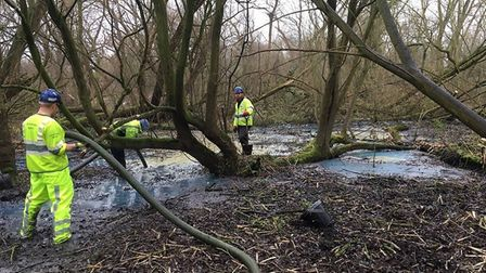 Enviroment agency officers cleaning up Welsh Harp after the blaze in Staple's Corner (Picture: @EnvA