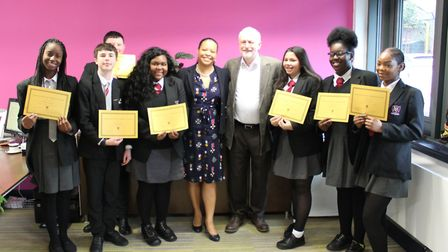 Islington North MP Jeremy Corbyn speaking to students at Arts and Media School Islington about their