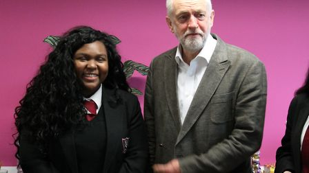 Islington North MP Jeremy Corbyn with Arts and Media School student Aaliyah Murrian (centre) . Photo