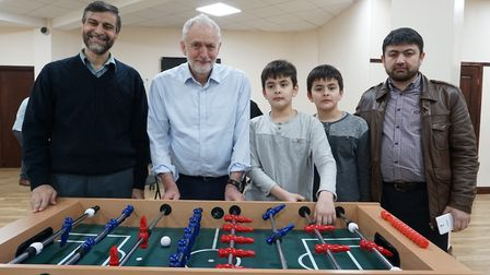 Jeremy Corbyn stopped by at Finsbury Park Mosque's 'meal for all' project last night. From left, he